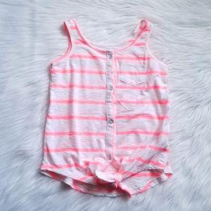 🎀Old Navy Neon Pink Striped Tank Size XS 5💕